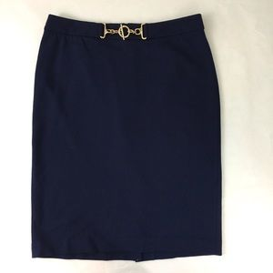 Talbots Navy Pencil Skirt Gold Hardware Accent